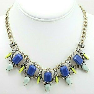 Loft Ann Taylor Statement Necklace Blue Yellow